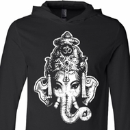 Mens Yoga Shirt BIG Ganesha Head Lightweight Hoodie Tee T-Shirt