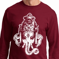 Mens Yoga Shirt BIG Ganesha Head Long Sleeve Tee T-Shirt