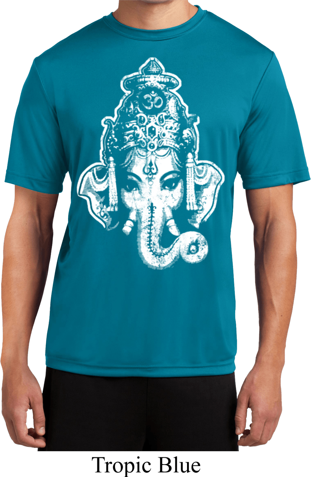 Mens yoga shirt big ganesha head moisture wicking tee t for Sweat wicking t shirts