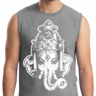 Mens Yoga Shirt BIG Ganesha Head Muscle Tee T-Shirt