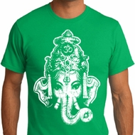 Mens Yoga Shirt BIG Ganesha Head Organic Tee T-Shirt