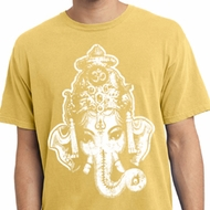 Mens Yoga Shirt BIG Ganesha Head Pigment Dyed Tee T-Shirt