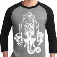 Mens Yoga Shirt BIG Ganesha Head Raglan Tee T-Shirt