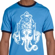 Mens Yoga Shirt BIG Ganesha Head Ringer Tee T-Shirt