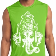 Mens Yoga Shirt BIG Ganesha Head Sleeveless Moisture Wicking Tee