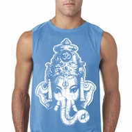 Mens Yoga Shirt BIG Ganesha Head Sleeveless Tee T-Shirt