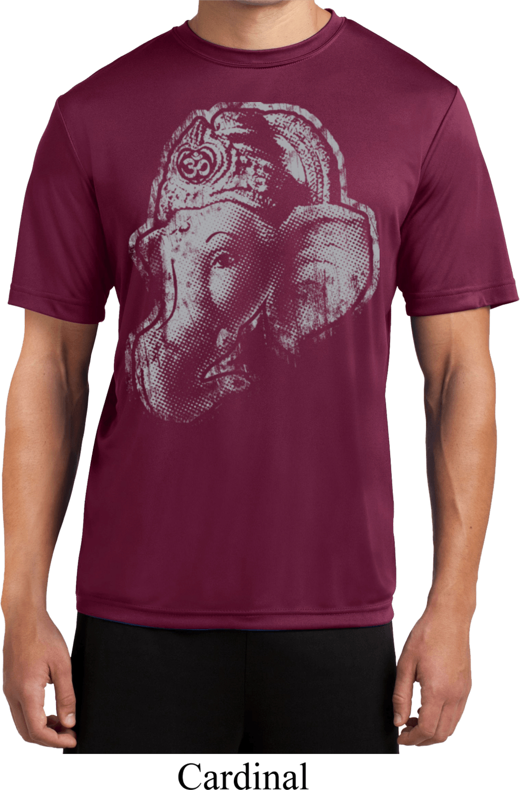 Mens yoga shirt big ganesha profile moisture wicking tee t for Sweat wicking t shirts