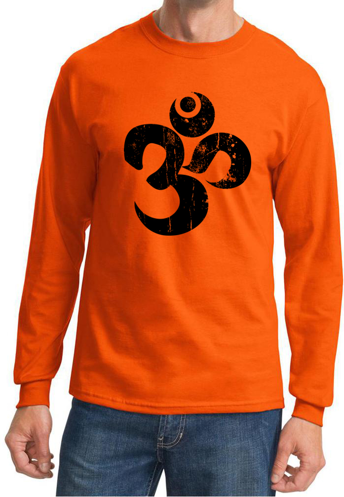 Mens yoga shirt black distressed om long sleeve tee t for How to make a distressed shirt