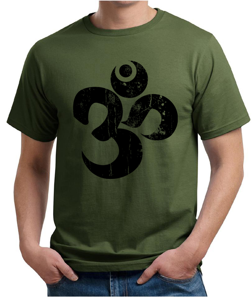 Mens yoga shirt black distressed om organic tee t shirt for How to make a distressed shirt
