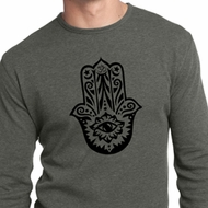 Mens Yoga Shirt Black Hamsa Long Sleeve Thermal Tee