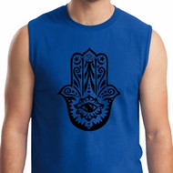 Mens Yoga Shirt Black Hamsa Muscle Tee T-Shirt