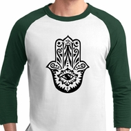Mens Yoga Shirt Black Hamsa Raglan Tee T-Shirt