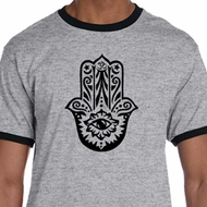Mens Yoga Shirt Black Hamsa Ringer Tee T-Shirt