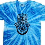 Mens Yoga Shirt Black Hamsa Twist Tie Dye Tee T-shirt