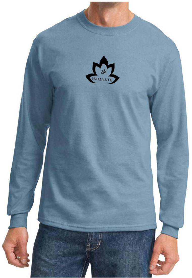 Mens yoga shirt black namaste lotus long sleeve tee t Yoga shirts with sleeves