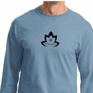 Mens Yoga Shirt Black Namaste Lotus Long Sleeve Tee T-Shirt