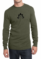 Mens Yoga Shirt Black Namaste Lotus Long Sleeve Thermal Tee T-Shirt