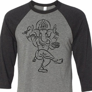 Mens Yoga Shirt Black Sketch Ganesha Raglan Shirt