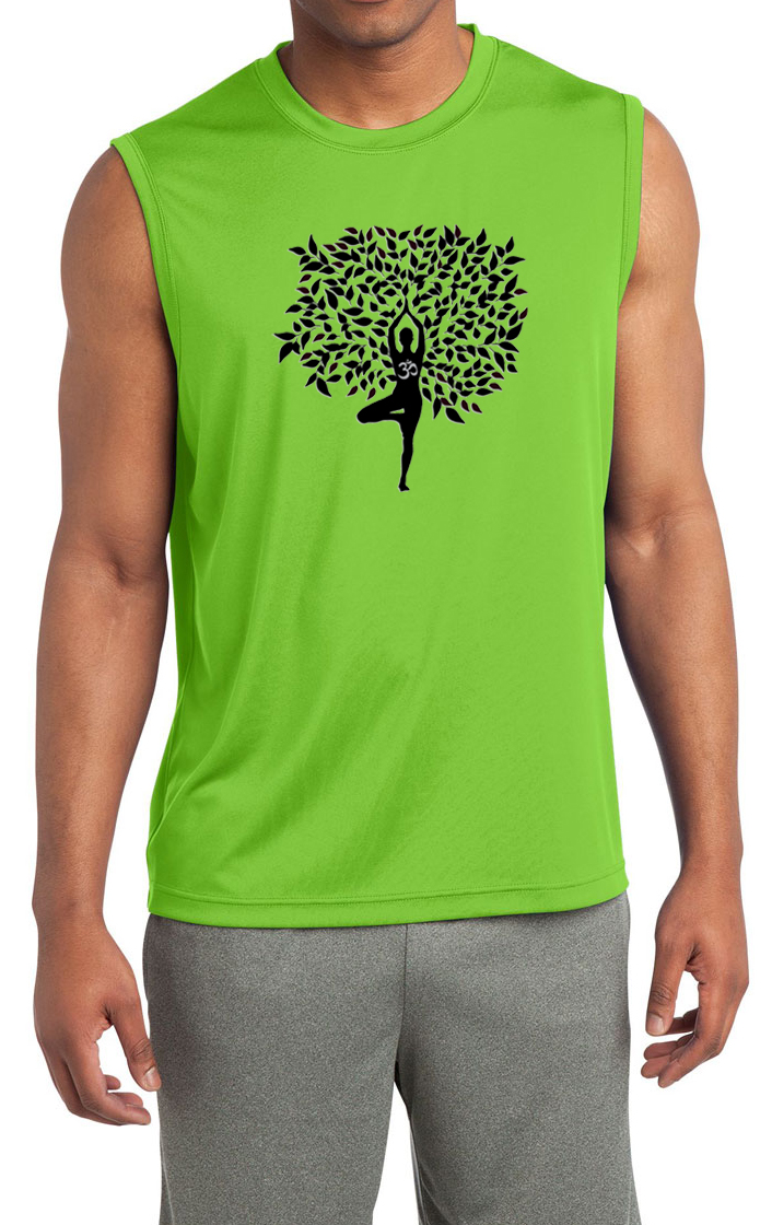 Ford Mustang Accessories >> Mens Yoga Shirt Black Tree Pose Sleeveless Moisture Wicking Tee - Black Tree Pose Mens Yoga Shirts