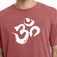 Mens Yoga Shirt Brushstroke Aum Pigment Dyed Tee T-Shirt