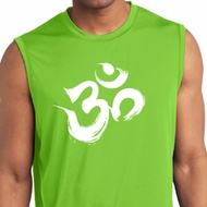 Mens Yoga Shirt Brushstroke Aum Sleeveless Moisture Wicking Tee