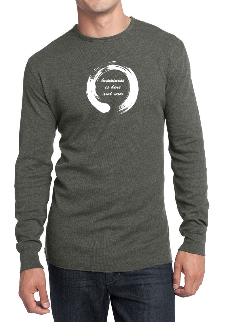 Mens yoga shirt enso happiness long sleeve thermal tee t Thermal t shirt long sleeve