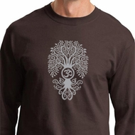 Mens Yoga Shirt Grey Bodhi Tree Long Sleeve Tee T-Shirt