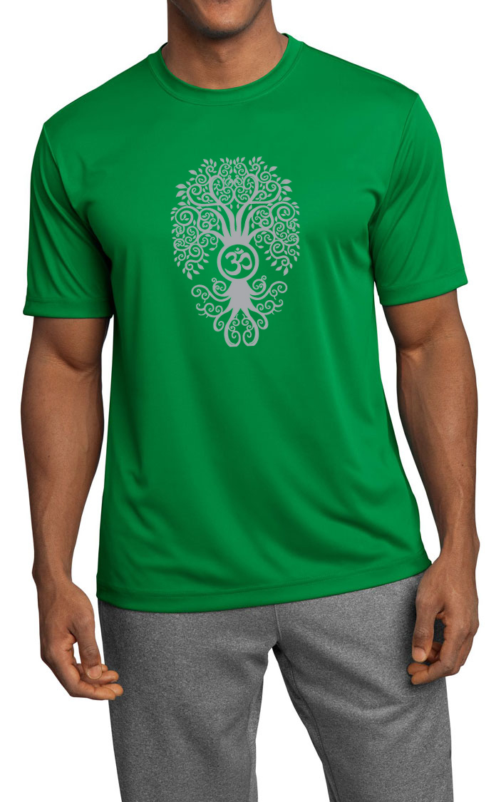 Mens yoga shirt grey bodhi tree moisture wicking tee t for Sweat wicking t shirts