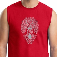 Mens Yoga Shirt Grey Bodhi Tree Muscle Tee T-Shirt