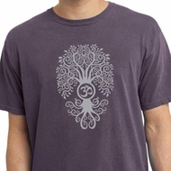 Mens Yoga Shirt Grey Bodhi Tree Pigment Dyed Tee T-Shirt