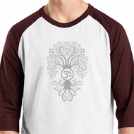 Mens Yoga Shirt Grey Bodhi Tree Raglan Tee T-Shirt
