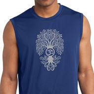 Mens Yoga Shirt Grey Bodhi Tree Sleeveless Moisture Wicking Tee