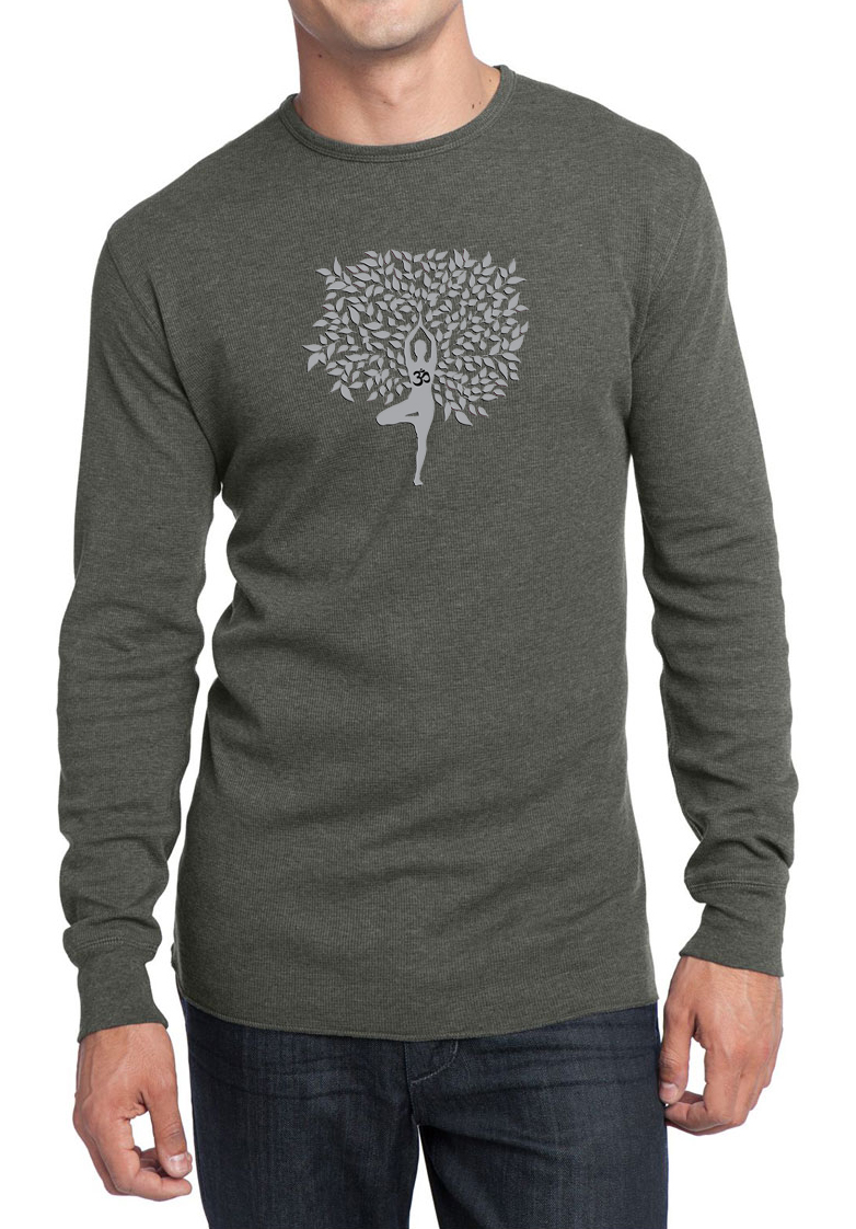 Mens yoga shirt grey tree pose long sleeve thermal tee t Yoga shirts with sleeves