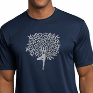 Mens Yoga Shirt Grey Tree Pose Moisture Wicking Tee T-Shirt