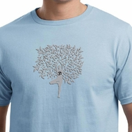 Mens Yoga Shirt Grey Tree Pose Organic Tee T-Shirt