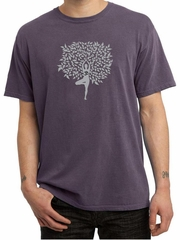 Mens Yoga Shirt Grey Tree Pose Pigment Dyed Tee T-Shirt