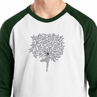 Mens Yoga Shirt Grey Tree Pose Raglan Tee T-Shirt