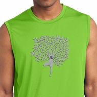 Mens Yoga Shirt Grey Tree Pose Sleeveless Moisture Wicking Tee T-Shirt