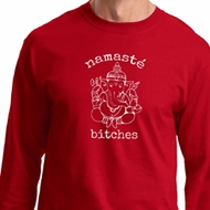 Mens Yoga Shirt Namaste Bitches Long Sleeve Tee T-Shirt