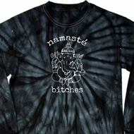 Mens Yoga Shirt Namaste Bitches Long Sleeve Tie Dye Tee T-shirt
