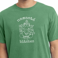 Mens Yoga Shirt Namaste Bitches Pigment Dyed Tee T-Shirt