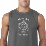 Mens Yoga Shirt Namaste Bitches Sleeveless Tee T-Shirt