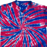 Mens Yoga Shirt Namaste Bitches Union Jack Patriotic Tie Dye Tee