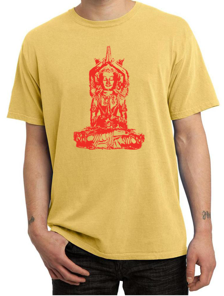 Mens yoga shirt red tara pigment dyed tee t shirt red for How to dye a shirt red