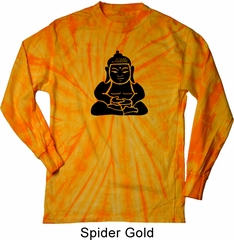 Mens Yoga Shirt Shadow Buddha Long Sleeve Tie Dye Tee T-shirt