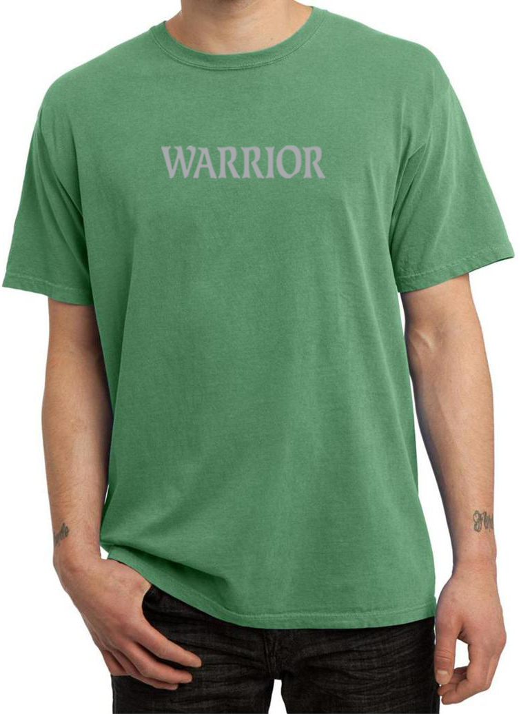 Mens Yoga Shirt Warrior Text Pigment Dyed Tee T Shirt
