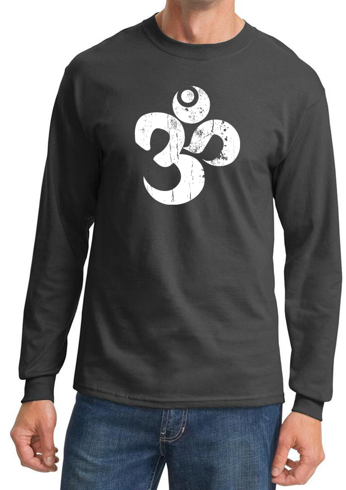 Mens yoga shirt white distressed om long sleeve tee t for Mens long sleeve white t shirt