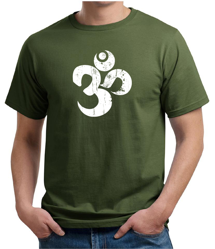Mens yoga shirt white distressed om organic tee t shirt for How to make a distressed shirt