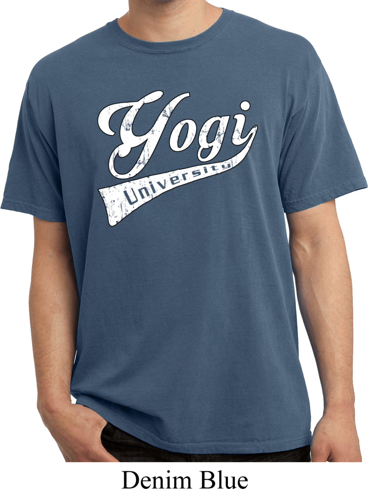 Mens Yoga Shirt Yogi University Pigment Dyed Tee T Shirt
