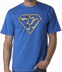 Mens Yoga Super OM Tee Shirt - Royal Blue
